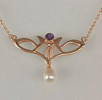 9906051 925er Silber vergoldet Jugendstil-Collier mit Amethst und Perle