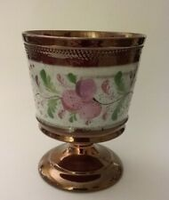 Antique Copper Lustre Footed Goblet Chalice Cup W/ Pink Floral Luster Band