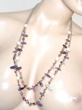 COLLAR LARGO plata oro rosa mujer perlas piedras moradas lilas glicinas G50