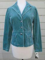 NEW INC Int'l Concepts Wms S PETITE Teal Corduroy Cotton Blend Field Jacket