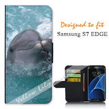 Samsung Galaxy S7 EDGE Wallet Flip Phone Case Cover Two Dolphins Y00910