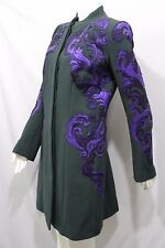 Andrew GN Women Green Wool Coat Jacket Cocktail Blue Floral Japanese 10 US 44