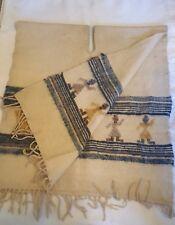 Vintage Poncho Serape Horses Hand Woven Wool Indian Blanket