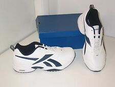 Reebok Evaluate Trainer Leather / Mesh White Navy Sneakers Shoes Mens 14 EW 4E