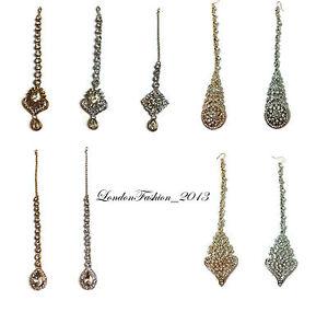Stunning Diamante Head Chain Matha Tikka/ Patti Silver Golden Bridal/Wedding