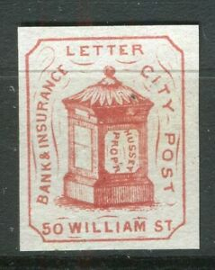 USA; 1860s-70s early classic Local Post type Imperf mint issue, Bank City Post