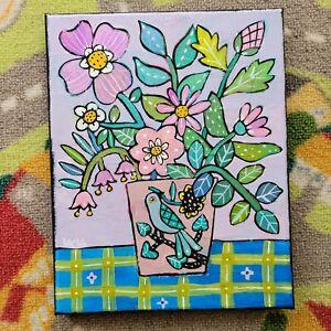 Folk Art ORIGINAL Floral Flower Leaf Stem Botanical Canvas Paint Pot Vase Bird