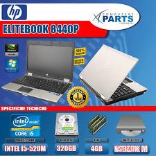 PC PORTATILE NOTEBOOK HP ELITBOOK 14 POLLICI 8440P INTEL I5 4GB 320GB w7 pro