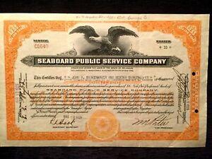 Seaboard Public Service Company Stock Certificate Dated March 9, 1929