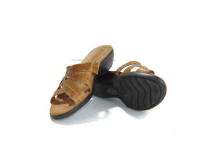 Earth Origins Sandals Brown Tan Leather Andria Heeled Slides Womens Size 11