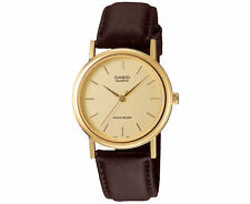 Casio Men's Analog Gold Watch Brown Leather Band Smooth Quartz