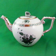 "CHINESE BOUQUET GREEN Herend Tea Pot 5.5"" tall NEW NEVER USED 2 tiny flaws"