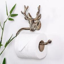 Antique Grey Stag Toilet Roll Holder Ornate Shabby Vintage Chic Wall Bathroom