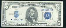1934-A $5 FIVE DOLLARS *STAR* SILVER CERTIFICATE ABOUT UNCIRCULATED