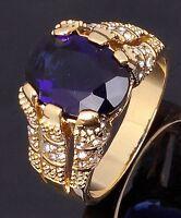 Trendy Men's Size 7-13 Gorgeous Blue Sapphire 18K Gold Filled Wedding Ring Gift