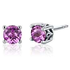 2 CT Round Pink Sapphire Sterling Silver Stud Earrings