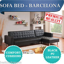 Wholesale Price Black PU Leather Sectional Corner Sofa Bed L Shaped - Barcelona