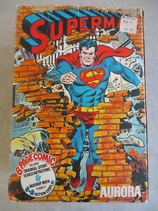 LOT OF SUPERMAN COMIC SCENES AURORA MODEL KIT PARTS 1944 1974 1984 WITH 1974 BOX