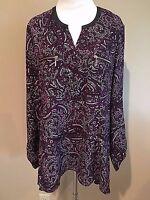 NWT Women's Purple Print Long Sleeve Rafaella Tunic Dress Top Small