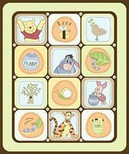 Winnie The Pooh Squares - Cot Quilt Craft Panel - 100% Cotton Fabric