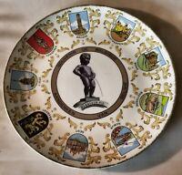 Vintage Mannekin Pis Souvenir Plate Belgique