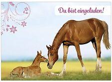 16 x Einladungskarten zum Kindergeburtstag Set - Motiv Pferde Karte für Mädchen