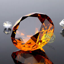 Amber Crystal Glass Diamond Paperweight Party Decoration Wedding Favor Display