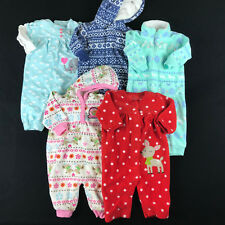 CARTERS Baby Girl Size 3 Months Winter Fleece One Piece Outfits Clothes Lot G4