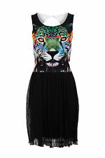 New Ladies Tiger Print Skater Mesh Lined Cutout Back Women's Dress