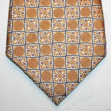 NEW Daniel de Fasson Silk Neck Tie Beige w Purple & Blue Floral and Pattern 1027