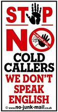 No Cold Caller Front Door Sign,Vinyl Self Adhesive Sticker, Would You Knock Here