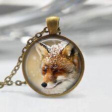 Vintage fox Cabochon bronze Glass Chain Pendant Necklace women Jewelry #16