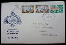 """S. RHODESIA JULY 3rd 1953 FIRST DAY COVER """"RHODES CENTENARY/ROYAL VISIT"""" BARHAM"""