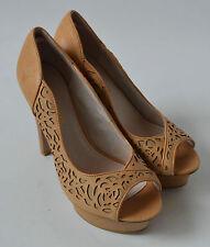 Ladies Kurt Geiger Beige High Heeled Platform Shoes Size UK 3