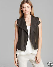 VINCE Green Moto Paper Leather Vest Jacket Size XS $795 NWT.