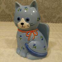 Vintage Otagiri Ceramic Blue Cat Napkin Holder Floral  Letter Holder Japan 4 X 6