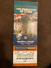 2006 Jacksonville Jaguars Vs. Miami Dolphins Ticket Stub