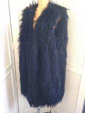 DKNY Faux Fur Wool Gillet Waistcoat Coat Midnight Blue Black RRP £445 Sz M-L