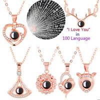 Feliz día de San Valentín Te amo Collar Cadena Proyección en 100 idiomas Collar