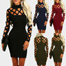 Women Sexy Cutout O-Neck Bodycon Casual Hollow Out Evening Party Mini Dresses