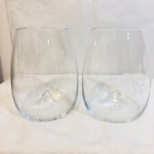 2 Waterford Elegance Stemless Wine Glasses Wine Tumblers Signed Waterford