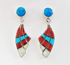 STUNNING TURQUOISE MULTICOLOR OPAL LAPIZ SPINY INLAY 925 SILVER DANGLE EARRINGS