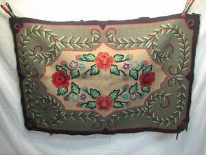 Antique Hooked Rug Art Kitchen Mat Throw Hand Made Floral Flowers Garden Runner