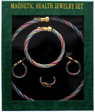 NIB Beautiful Multi Color Magnetic Hematite Necklace,Bracelet,Ring &Earring Set