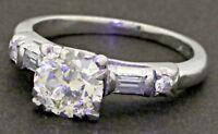 Antique Platinum 1.28CT SI1/H Old Mine cut diamond wedding ring w/ 1.10CT ctr.