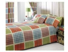 8pc King Size Bumper Duvet & Cushion Cover, Curtains,Tiebacks Set Check Square