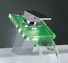 Modern Single Handle Waterfall Bathroom Vanity Vessel Sink LED Faucet