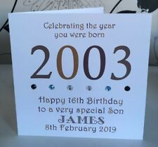 "16th 2003 Year You Were Born Birthday Card Personalised 6"" Son Grandson Brother"