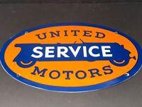 """VINTAGE UNITED MOTOR SERVICE 16.5"""""""" PORCELAIN METAL GENERAL GM GASOLINE OIL SIGN"""