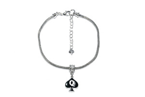 Queen Of Spades Enamel Charm Euro Anklet Ankle Chain Jewellry QOS Cuckold Silver